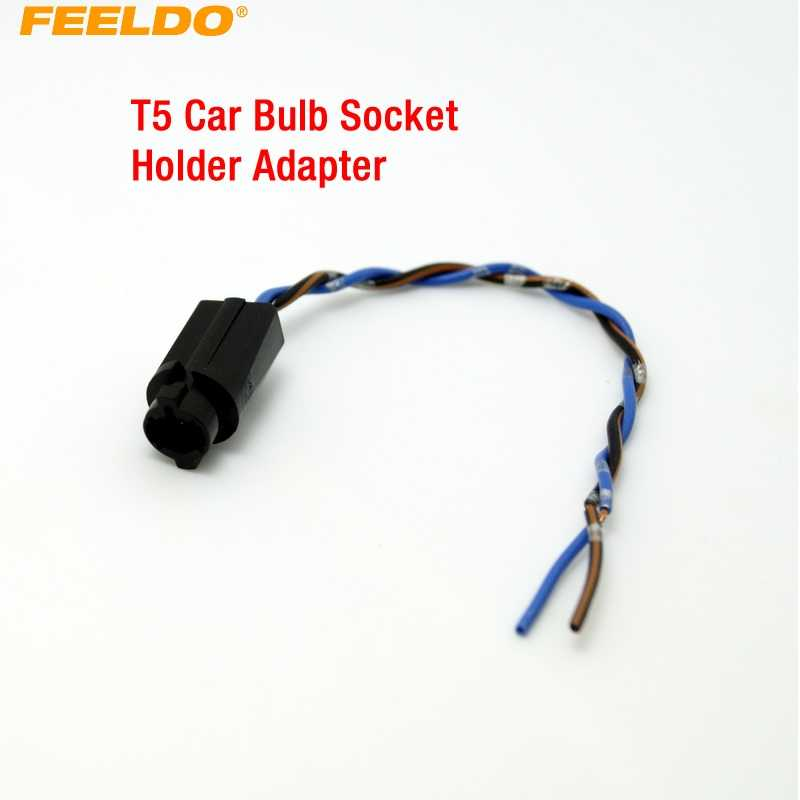 FEELDO 1 pc T5 Mobil LED Bulb Socket Holder Adapter Harness Plug # CA3816