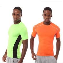 A18319 фитнес-Спорт футболки мужские Твердые футболки с коротким рукавом Одежда для бега Спортивная дышащая компрессионная быстросохнущая футболка