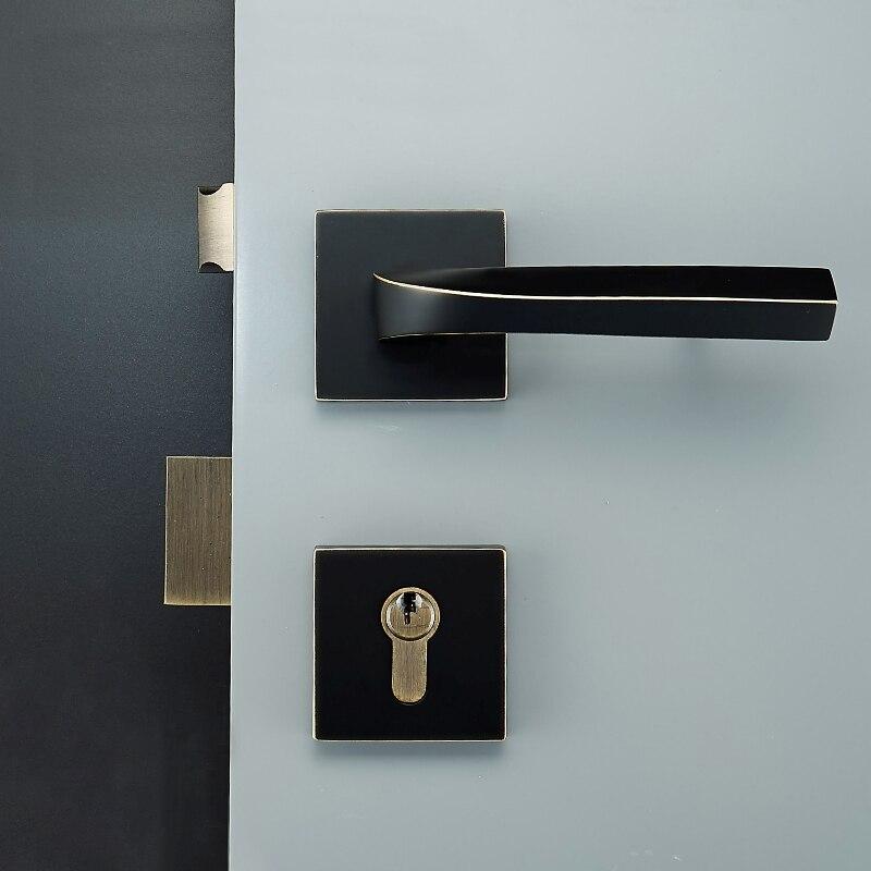 1 Set Square shape brass Door Lock simple Style Retro Bedroom Door Handle Lock Interior Anti-theft Room Safety Door Lock цены
