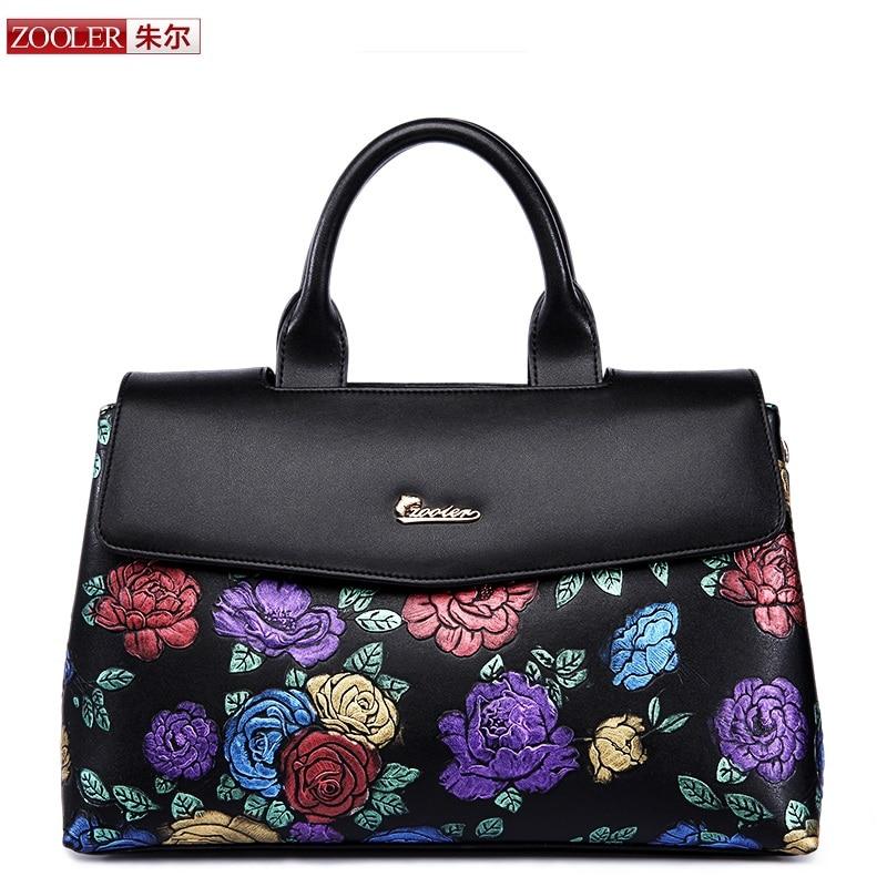 ZOOLER women bag 2018 embossed colored flower pattern genuine leather bag real l