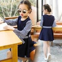 Big Girls Winter Dress Long Sleeve Striped Children Clothing Princess Little Girls Dresses With Bow School