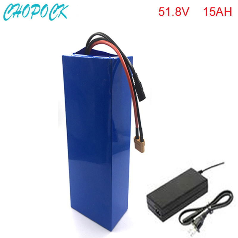 electric bike battery 52v 1500w li-ion battery pack with charger and BMS for 51.8v 15ah lithium battery pack For Samsung cell lithium ion battery 1800w 60v 18650 electric bike battery 60v 12ah triangle battery pack with bms charger for samsung cell