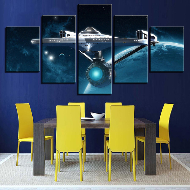 Aliexpress Com Buy Hd Home Decor Cuadros Canvas Living Room Printed Modern 5 Panel Star Trek Pictures Painting Wall Art Modular Poster Frame From