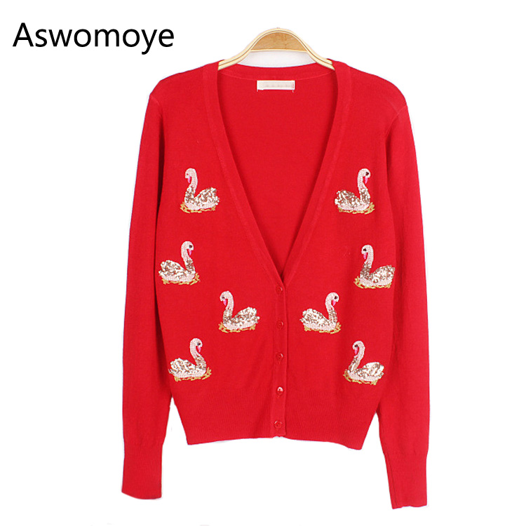 2018 New Stylish Spring Women Sweater Cardigans Swan Embroidery Sequins Deep V-neck Slim Full Sleeve Jacket Female Knitwear