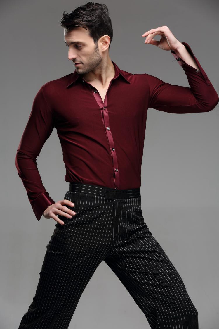 bc3d99926 Free Shipping high quality red color Men's Ballroom Modern Salsa Tango  Samba Latin Dance Shirts Mens Latin Shirts costumes-in Ballroom from  Novelty ...