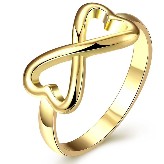 Promise Rings Gold Color Round Rings For Women Infinity Endless Love