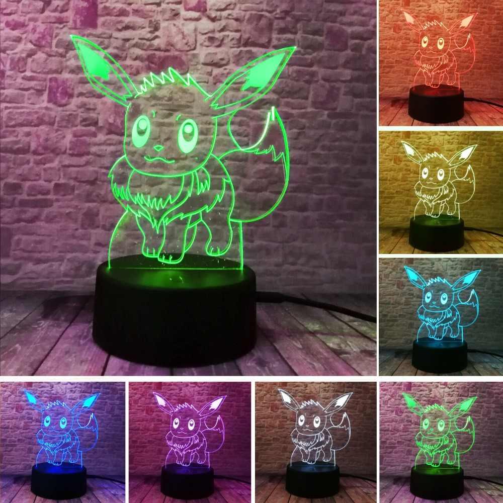 Покебол PIKACHU Bulbasaur Bay Role 3D RGB лампа Pokemon Go экшн-фигурка визуальная Иллюзия светодиодный Праздничный Рождественский подарок Ночной светильник