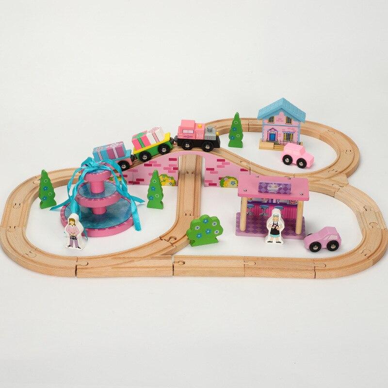 Train en bois piste Set véhicules modèles voitures enfants en bois chemin de fer Puzzle fente Transit bois Thoman Train voies jouets pour enfants