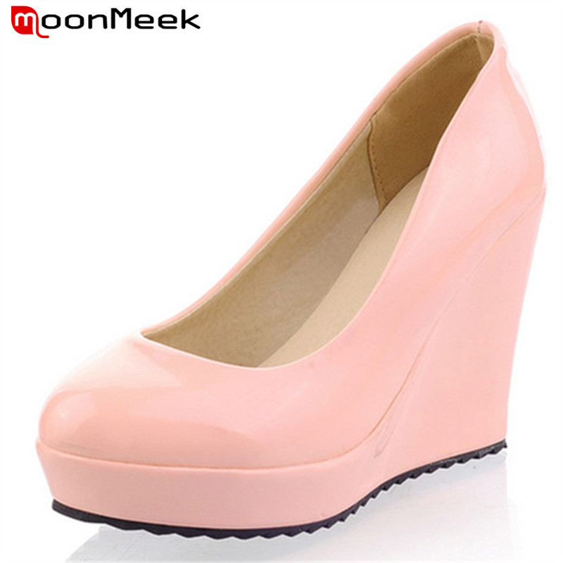 2017 new sexy fashion round toe wedges high heels women pumps patent leather platform shoes sweet ladies wedding shoes woman new women pumps transparent wedges high heels ankle pointed toe high heels pring autumn sexy shoes woman platform pumps