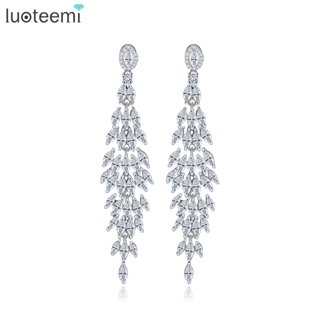 LUOTEEMI Fashion Antique Marquise Cut Clear Cubic Zirconia Custom Long Drop Earrings For Women White Gold Plated Bridal Jewelry