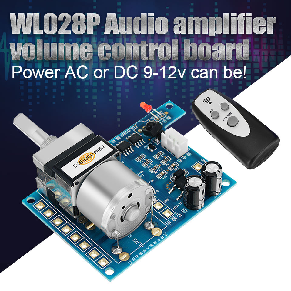AC//DC 9V Infrared Pre AMP Audio Motor Amplifier Volume Remote Control Board Stri