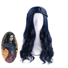 Anilnc Descendants 2 Evie Dark Blue Long Wavy Wig Cosplay Costume