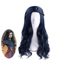 Anilnc Torunları 2 Evie Koyu Mavi Uzun Dalgalı Peruk Cosplay Kostüm