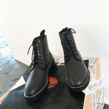 646d22d6 2019 Chic mujeres tobillo botas de encaje hasta botines corto cuero punta  redonda acogedoras Zapatos Mujer Chelsea botas marca d.