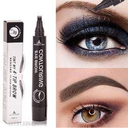 Make-up Microblading Tattoo Augenbraue Bleistifte Wasserdichte Gabel spitze Augenbraue Tattoo Stift 4 Kopf Feine Skizze Enhancer Koreanische Kosmetik