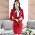 2016 Professional Formal Uniform Design Autumn winter Business Suits 3 pieces sets women Jackets + Skirt + blouse Ladies Blazers