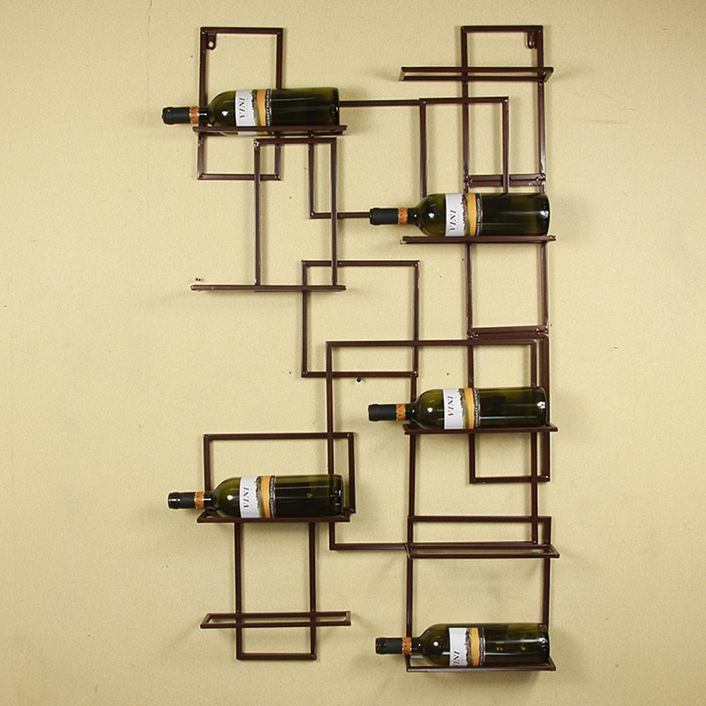 Classic Handmade Vintage Diy Iron Wall Mounted Wine Bottle Holder