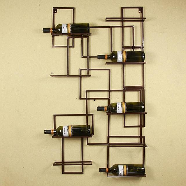 Classic Handmade Vintage DIY Iron Wall Mounted Wine Bottle Holder ...