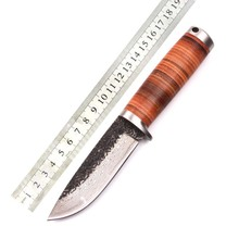 Handmade forging hunting knife Damascus pattern high carbon steel fixed blade leather sheath camping survival knives rescue tool