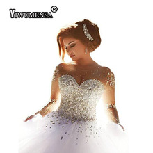 Robe de mariage Crystals Wedding Dress Beaded Full Sleeves Backless Bridal Gown Wedding dresses Bride Vestido
