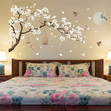 187*128cm Big Size Tree Wall Stickers Birds Flower Home Decor Wallpapers for Living Room Bedroom DIY Vinyl Rooms Decoration extra thick classical flower design home decor vinyl wallpapers
