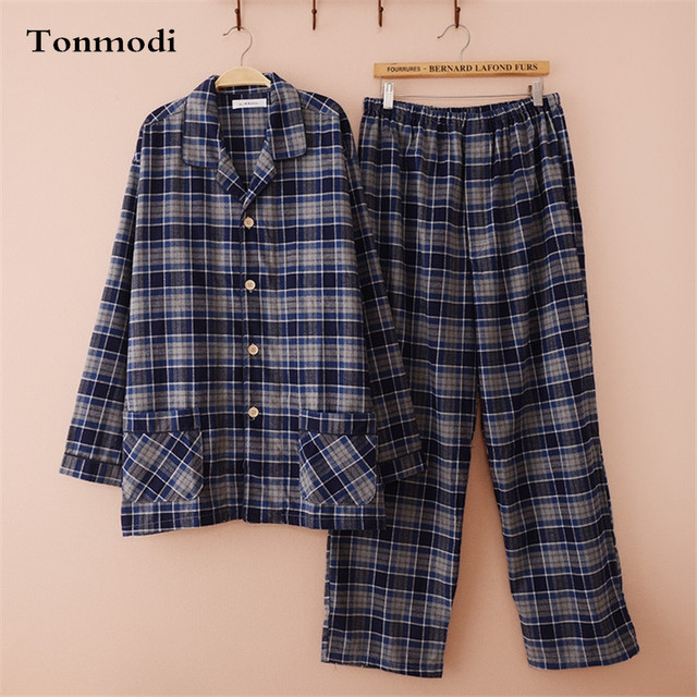 Pajamas Men Thick Velvet Cotton Pajamas Set Spring And Autumn Sleep Plaid Casual Pyjamas Men