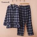 Pijamas Pijamas de Algodão Dos Homens de Espessura de Veludo Definir Primavera E No Outono Sono Xadrez Casuais Pijama Dos Homens