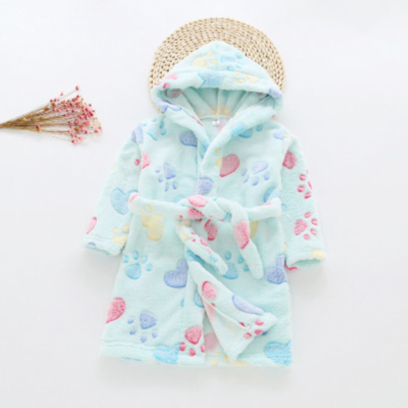 New Arrival 12 Color Baby Girls Winter Flannel Pajamas Kids Boys Cartoon Warm Hooded Sleepwear Coral Velvet Bathrobes L55(China)