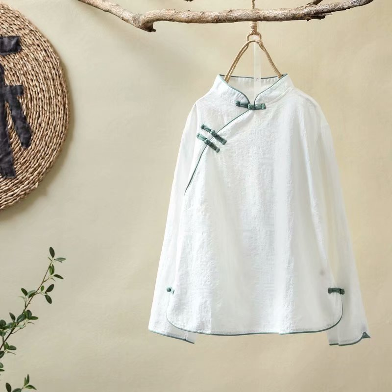New Autumn Wind Cotton Stand Collar Plate Buttons Republican Obscure Shirt Female Short Shirt Tricolor