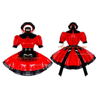 Sexy Sissy Maid Red Pvc Dress Lockable Uniform Cosplay Costume Tailor made[G400]