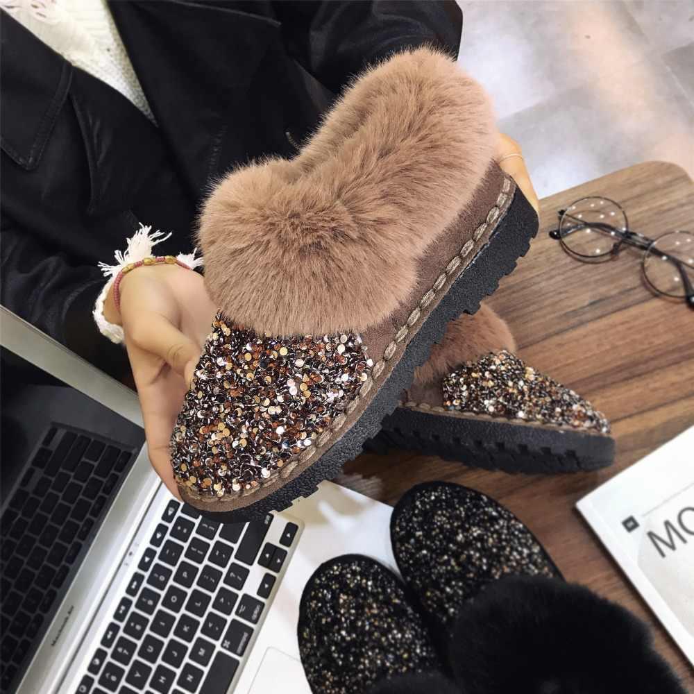 Kış kadın kar botları sıcak kürk peluş Bling payetli kumaş dikiş kadın düz parlak üzerinde kayma moda rahat bayan ayakkabıları
