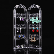 Beauty Health Product Jewelry Display Organizer Transparent Earring Holder Earring Display Two Doors Showing Shelf