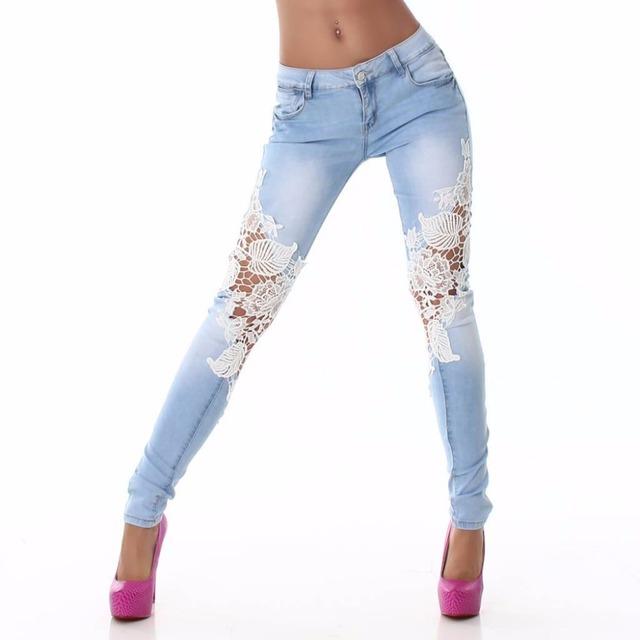 2016 Nova Moda das Mulheres Rendas de Croché Denim Stretch Skinny Slim calças de Brim Azul Gradient Ramp