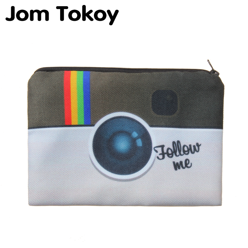 Jom Tokoy Instagram Follow me 3D Printed women cosmetic bag neceser makeup bag travel bolsos mujer de marca famosa toiletry unicorn 3d printing fashion makeup bag maleta de maquiagem cosmetic bag necessaire bags organizer party neceser maquillaje