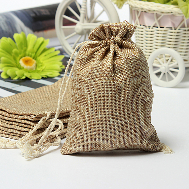 Mini Rustic Burlap Pouch Sack Drawstring Tie Bag Wedding Party Favor