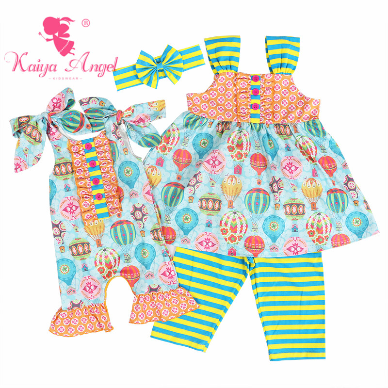 Kaiya Angel 2018 Hot Newborn Boutique Pajamas Toddler Girls Summer Clothing Light Blue Colorful Hot Air