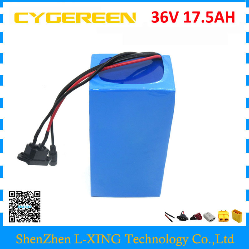 Free customs fee 1000W 36V 17.5AH battery pack 36 V lithium ion battery 18AH use samsung 3500mah cell 30A BMS with 2A Charger