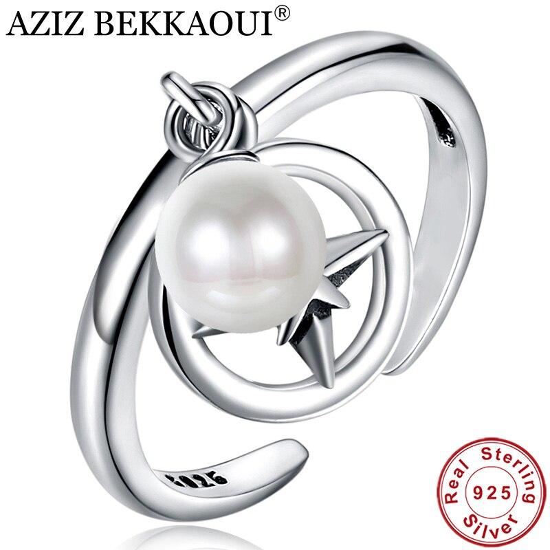 Finger-Rings Star Wedding-Jewelry Open 925-Sterling-Silver White Genuine Engagement AZIZ