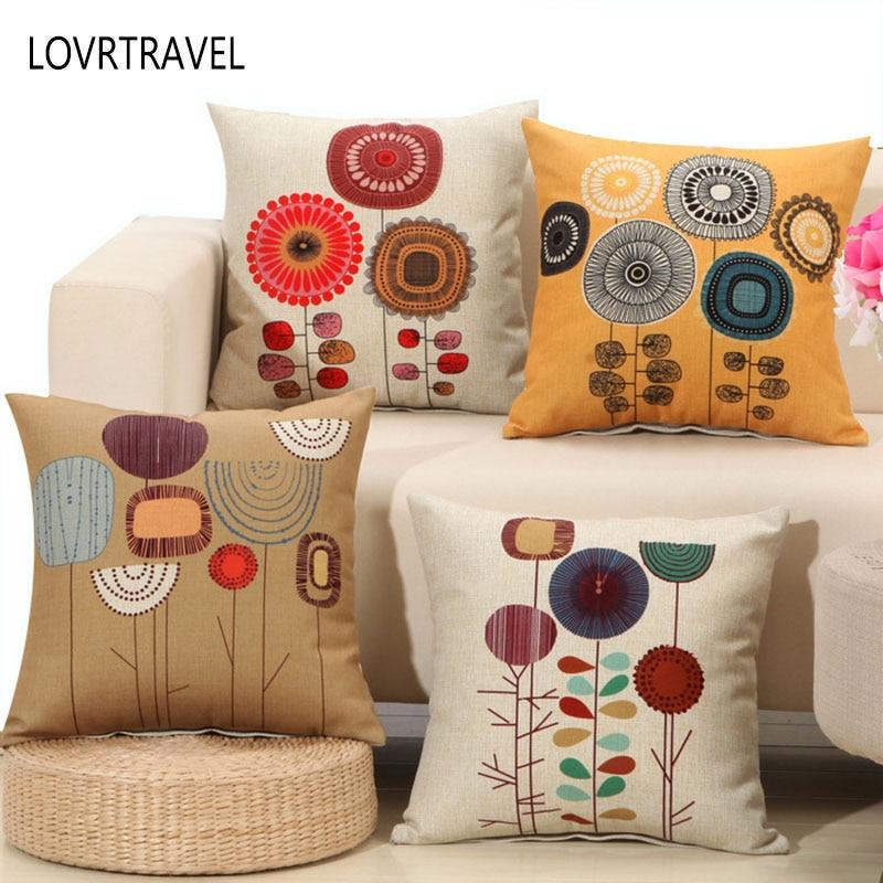 LOVRTRVEL Square Simple Flower Cushion For Sofa Decorative Throw Pillow Pillowcase Hidden Zipper Design Capa De Almofada 55*55cm