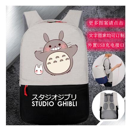New designed High Q  anime totoro  printing backpacks  unisex waterproof USB charge backpack for student New designed High Q  anime totoro  printing backpacks  unisex waterproof USB charge backpack for student