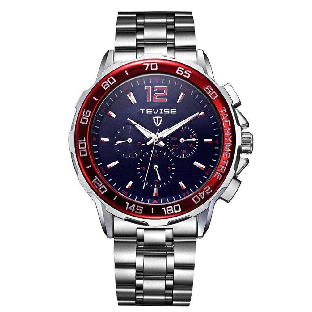 TEVISE Automatic Mechanical Watches Men Self Wind Auto Date Month Week Stainless Steel Luminous Analog Wristwatches 356 watch triple dial hour second week display automatic mechanical watch for men tevise 356