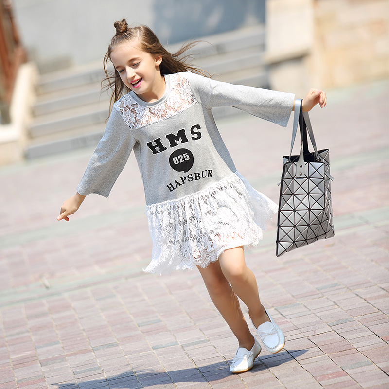 Princess Lace Girls Dress Long Sleeve Letter Print Cotton Kids Girls Casual Dress Autumn Winter Children Dress 6 7 8 10 12 years kids girls tee cotton letter patterned long sleeve girls t shirt autumn fashion young children girls clothing 4 5 6 7 12 years