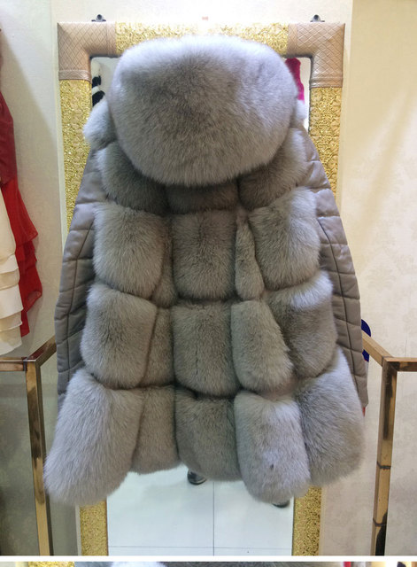 Autumn Winter women real fox fur coats with real sheep skins sleeve on dry sheep equivalent,