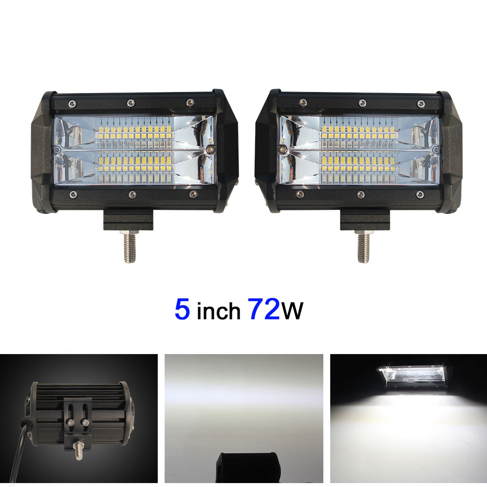 COLIGHT 72W 5 Inch Dual Row LED Light Bar Offroad Work Light For Led Atv Truck