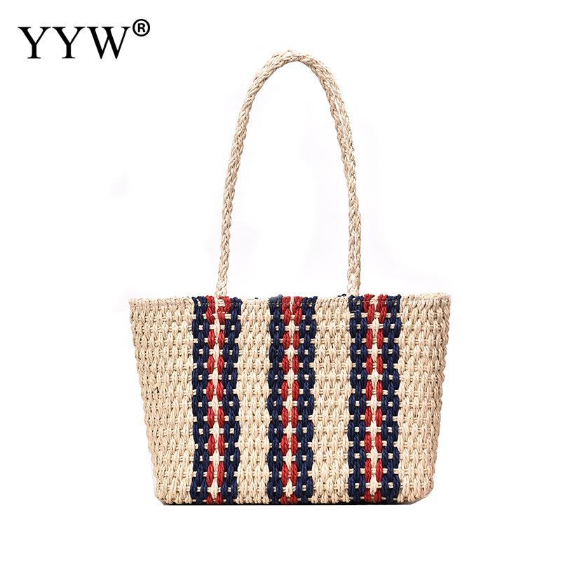 Straw Woven Tote Large Capacity Straw Bag Handbag Summer Beach Bag Rattan Woven Handmade Knitted Straw