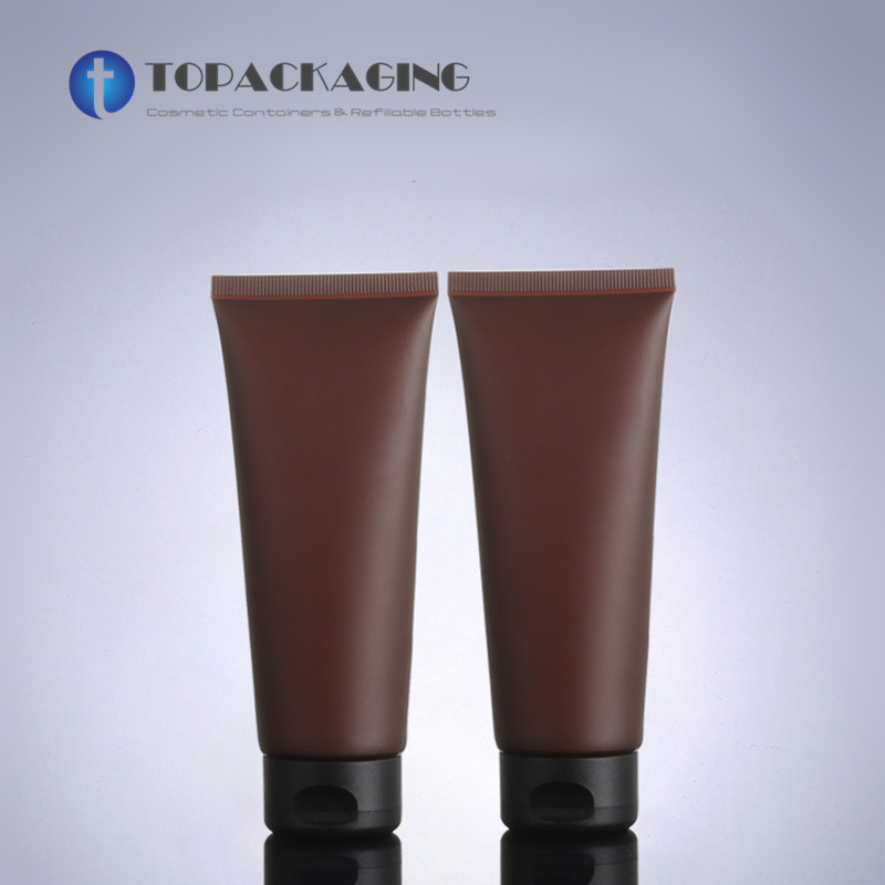 100ML Soft Hose Matt Amber Plastic Cosmetic Container Empty Facial Cleanser Packaging Hand Cream Tube Brown