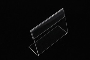 Image 3 - Acrylic T1.3mm Small sign clip L label tag frame Table Sign Price Tag Label Display Paper name Card Holders Stands dekstop 50pcs