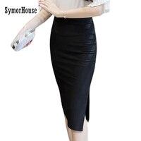 Thiết Kế mới Đen Đỏ Slim Hip Rắn Knee-Chiều Dài Váy Dài thời trang Cao Eo Váy Bút Chì Phụ Nữ CV Phong Cách Bán Buôn Kích Thước 5XL