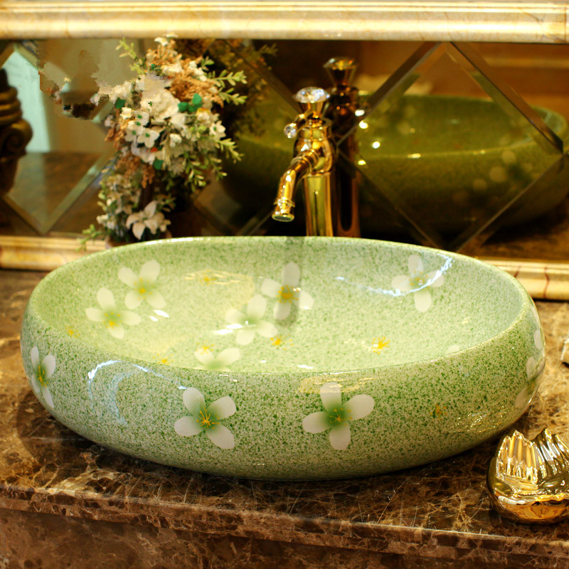 Green glazed flower porcelain bathroom vanity bathroom sink bowl countertop Oval bathroom sink wash basin