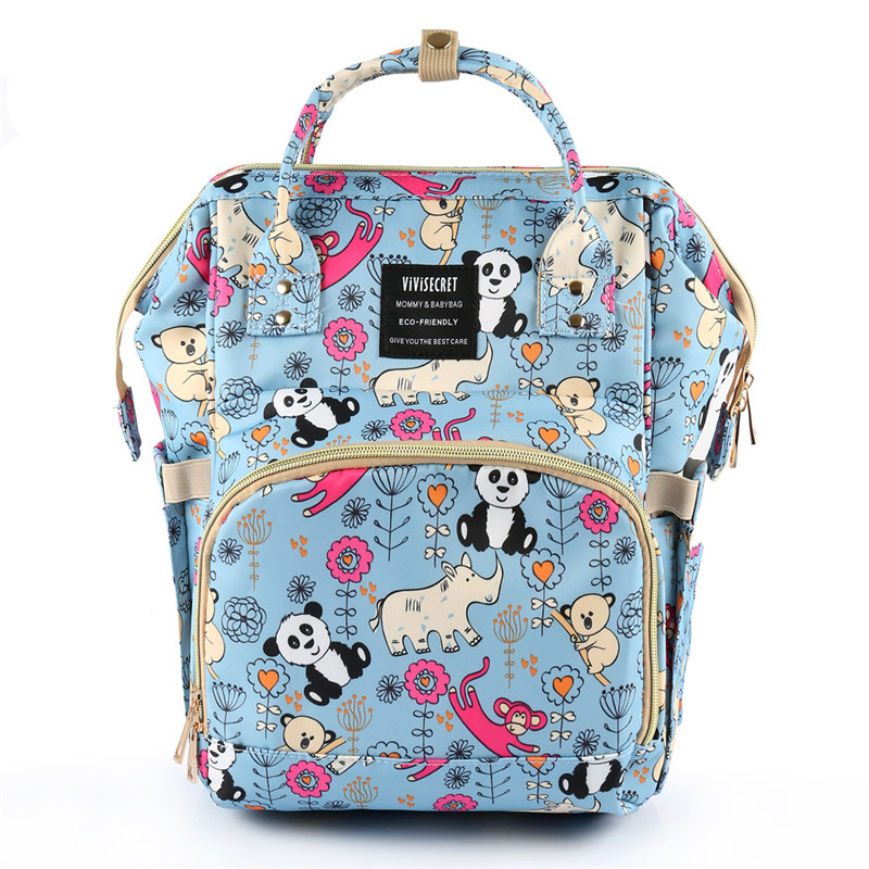 Cute Panda Printed Cartoon Animal Zoo Pattern Backpack Fashion Sports Lightweight Mummy Diaper Bags, Hot Sell! fashion colorful cartoon animal printed square new composite linen blend pillow case